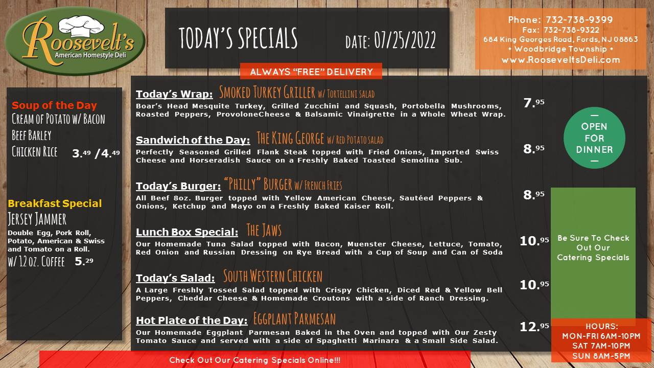 Roosevelt's Daily Specials